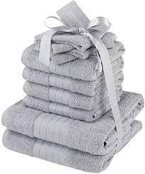 dreamscene luxus 100 ägyptische baumwolle 10 teiliges badezimmer handtuch bale bath geschenk set silber grau 10 tlg