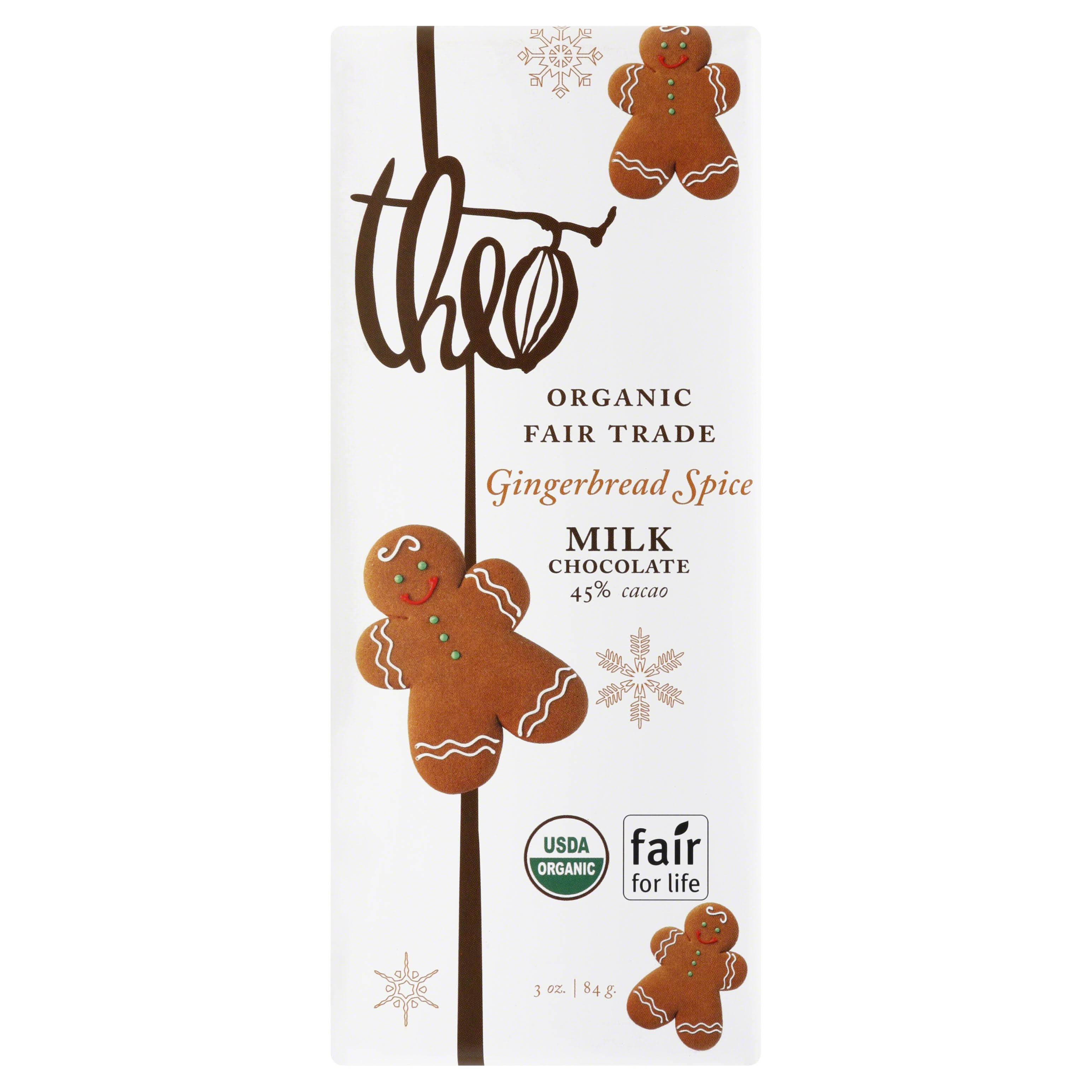 Theo Milk Chocolate Bar - Gingerbread Spice, 85g