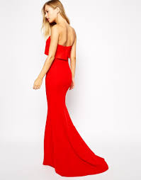 jarlo blaze strapless maxi dress with overlay in red lyst