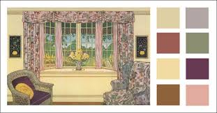 1920s Living Room with a Bay Window Color Schemes Moss green