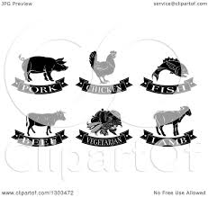 Clipart of Black and White Pork Chicken Fish Beef Ve arian and Lamb Food Designs Royalty Free Vector Illustration by AtStockIllustration