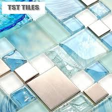 2018 painted blue color glass tile mosaics metal stainless steel