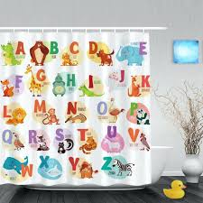 Walmart Canada Bathroom Curtains by Educational Alphabet Letters Kids Shower Cute Animals Decor Baby