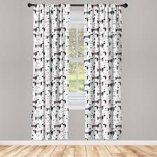 gardine fensterbehandlungen 2 panel set für wohnzimmer schlafzimmer dekor abakuhaus hund dackel silhouetten dots kaufen otto