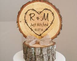 Rustic Wood Wedding Cake Topper Just Hitched Tree Slice Custom
