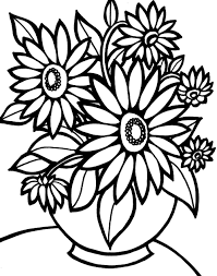 Colouring Pages Bouquet Flowers Printable Free For Kids Girls Inside Of Coloring