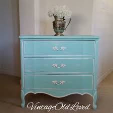 Palais Royal Kent Coffey Dresser by Tiffany Blue Chalk Painted Vintage Nightstand Small Dresser Dixie
