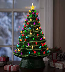Lighted Ceramic Christmas Tree Battery Operated