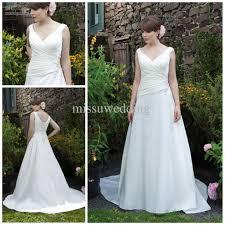 discount simple plus size wedding dresses v neck satin low back