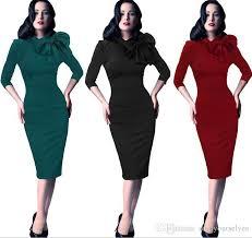 Fashion Vintage Dresses Women Elegant Business Work Wear Formal Pencil Dress Summer Office Career Ladies Bownot 2018 From Enjoyourselves