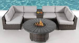 Amazon.com : Fire Pit Furniture Set | Living Source Rattan Wicker ... Hanover Summer Nights 5piece Patio Fire Pit Cversation Set With Amazoncom Summrnght5pc Zoranne 4 Chairs Livingroom Table With Outdoor Gas And Tables Sets Fniture Fresh Ding Shop Monaco 7piece Highding 6 Swivel Rockers And A The Greatroom Company Kenwood Linear Height Alinum Cheap Chair Beautiful Comet 8 Wicker Chat Tank Awesome Top 10 Envelor Oval Brown 7 Piece Poker Stunning