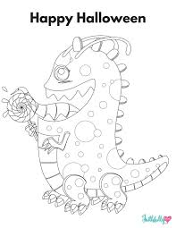 Halloween Candy Monster Printable Coloring Sheet