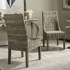 Safavieh Rural Woven Dining Suncoast Unfinished Natural Wicker Arm Chairs Set Of 2