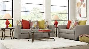 Gray And Orange Living Room Set With Sofa Grey