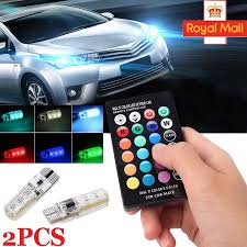 2x led t10 remote w5w 501 rgb color changing car wedge