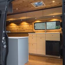 Newly Converted Sprinter Van By Townsend Travel Trailers Cedar Walls Bamboo Cabinets And A Convertible Bed Are Just Some Of The Great Features In This