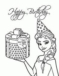 Elsa And Birthday Present Coloring Page For Kids Holiday Pages Printables Free
