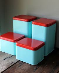 Metal Canister Set Vintage Blue Turquoise Aqua Red Retro Kitchen Decor Storage Container Upcycled Painted Via Etsy