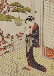 Young Woman Reading A Letter By Lantern Light Woodblock Print 1768 Japan