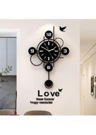 wanduhr modern wohnzimmer schwarz 3d acryl silent quarz