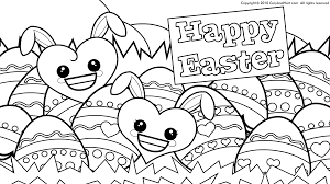 Easter Bunny And Eggs Coloring Pages Happy 2017 Throughout