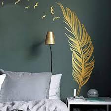 wandtattoo für schlafzimmer golden feder wandsticker als wanddekoration für wohnzimmer 120x180cm wand aufkleber deko wandaufkleber für wand fenster