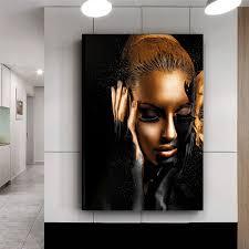 schwarz gold nackte afrikanische kunst frau porträt malerei poster und drucke ölgemälde farben wohnzimmer leinwand zum malen buy leinwand für