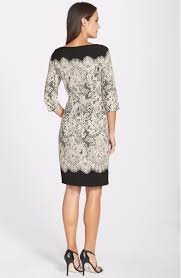 adrianna papell lace print crepe sheath dress sz 10 ebay