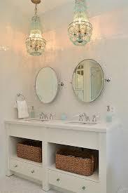 turquoise beaded chandelier over bathroom vanity cottage bathroom