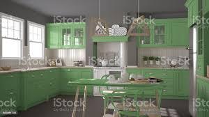 skandinavische klassische küche mit holz und grünen details minimalistisches interieur design stockfoto und mehr bilder arbeitsplatte