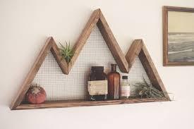 Mountain Wall Art Shelf Home Decor Hanging Reclaimed Wood Statement Piece Modern Industrial Rustic