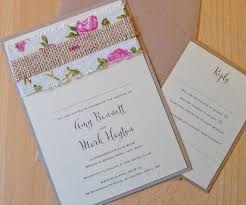 Rustic Vintage Rose Flat Wedding Invitation With Patterned Linen Ribbon And Narrow Hessian Strip