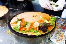 cuisine crepe vegetable crepe at pan salty crepe or pancake with fillings