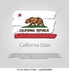 California State Flag With Colored Hand Drawn Lines In Vector Format