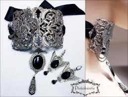 filigree neck corset and earrings set pinkabsinthe jewellery