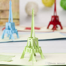 3d Eiffel Tower Greeting Card Fashion Stereoscopic Diy Handmade Art Craft Cards Wish Souvenir Event Party 200012 Birthday