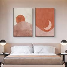 dekoration sun and moon poster painting abstract landscape