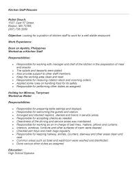 Sample Kitchen Staff Resume Samples Hand Example Good Template Experienced