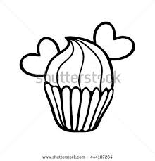 Valentine cupcake decorated with two hearts Hand drawn illustration Black outline on white background