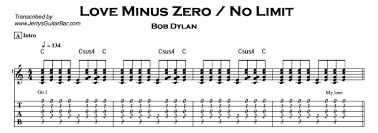 Zero Smashing Pumpkins Tab by Bob Dylan U2013 Love Minus Zero No Limit Jerry U0027s Guitar Bar