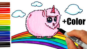 How To Draw Color Pink Fluffy Unicorn Dancing On Rainbow Step By