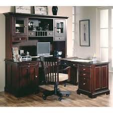 Chocolate Brown Hickory Wood L Shaped Office Desk With Drawers And