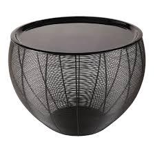 bout de canapé noir meuble metal noir