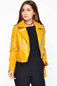 482 tina biker jacket in mustard iclothing