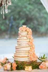 Semi Naked Four Layer Round Tier Wedding Cake With Fresh Flower Garden Rose Pink And Green