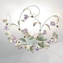 verspielte deckenleuchte weiß rosa floraler stil aus metall