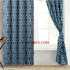 Blue Moroccan Style Curtains Modern Navy Geometric For Dining Room Drapes Decorating Living
