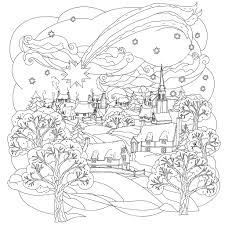 Christmas Star Flies Over Winter Village A Beautiful And Simple Xmas Coloring Page