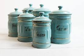 Rustic Kitchen Canister Sets by Vintage Kitchen Canisters Turquoise Enamel Canisters French