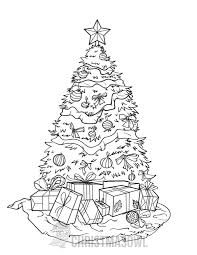 Free Printable Coloring Page Featuring A Decorated Christmas Tree With Presents Get It At